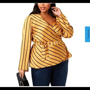 INC Striped Bell Sleeve Wrap Top Yellow Size 3X